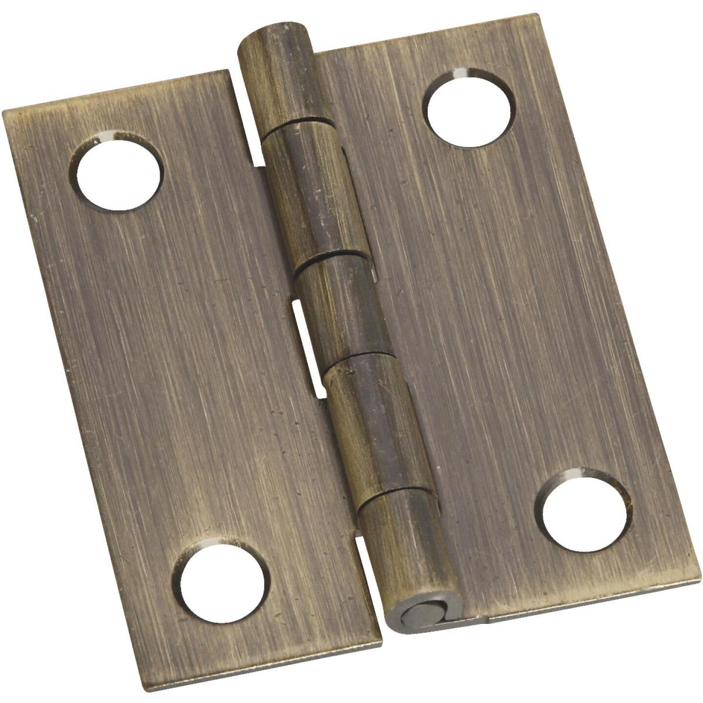 National 1-1/4 In. x 1-1/2 In. Antique Brass Hinge (2-Pack) Image 1