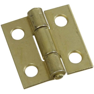 National 1 In. Brass Tight-Pin Narrow Hinge (2 Count)