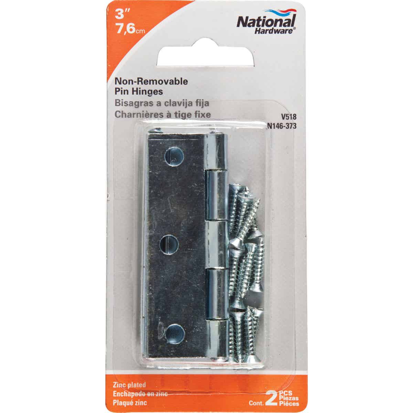 National 3 In. Zinc Tight-Pin Narrow Hinge (2-Pack) Image 2