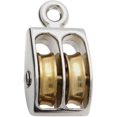 National 1 In. O.D. Double Fixed Eye No-Rust Rope Pulley