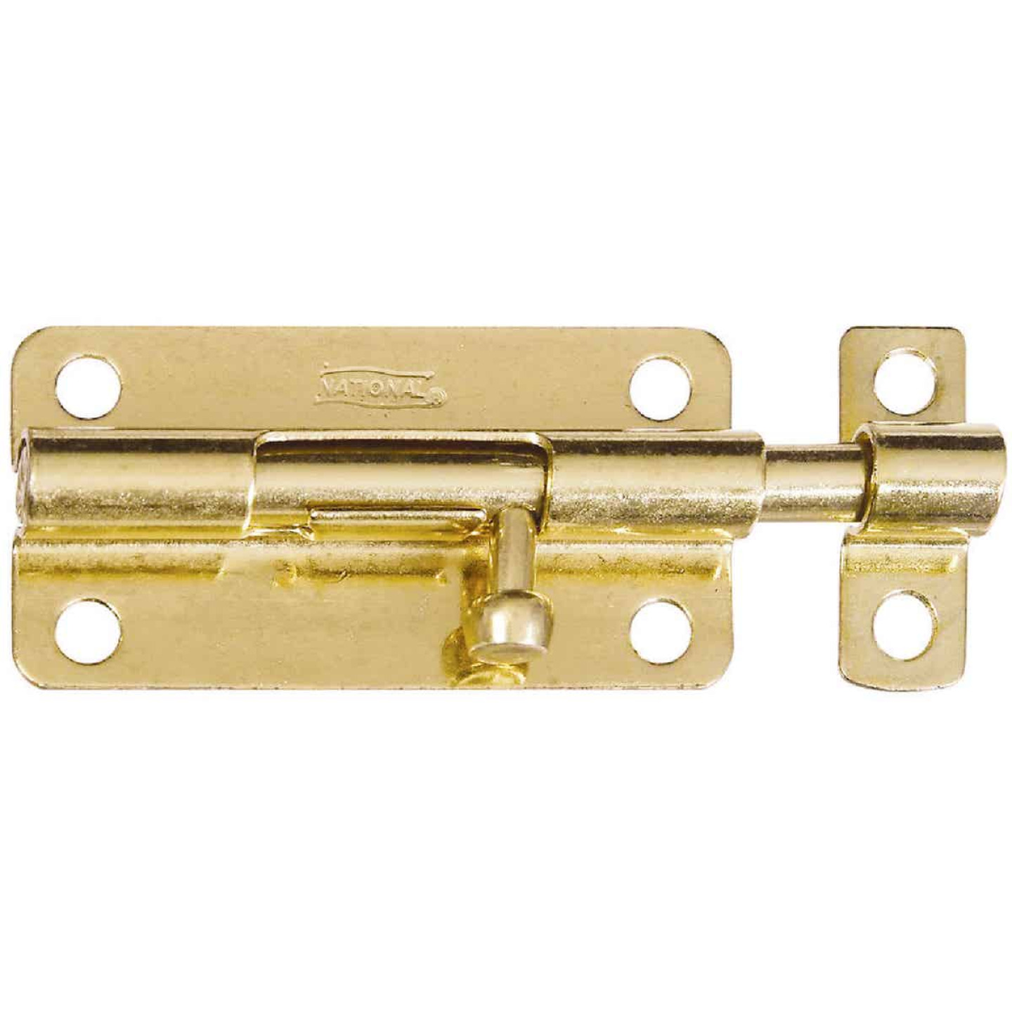 National 4 In. Brass Steel Door Barrel Bolt Image 1